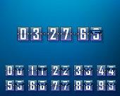 Mechanical time timer, set of digits. Vector illustration