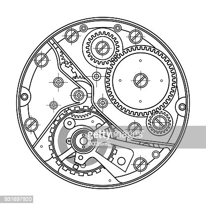 Mechanical watches with gears. Drawing of the internal device. It can be used as an example of harmonious interaction of complex systems, technical, engineering and scientific research, high-tech : stock vector