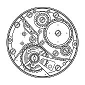 Mechanical watches with gears. Drawing of the internal device. It can be used as an example of harmonious interaction of complex systems, technical, engineering and scientific research.