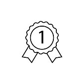 medal first icon. Element of award sign for mobile concept and web apps illustration. Thin line icon for website design and development, app development. Premium icon on white background