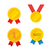 Medal gold vector set, flat cartoon golden medallion, award symbol, achievement badge isolated