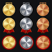 Medals Blank Set Vector. Realistic First, Second Third Placement Prize. Classic Empty Medals Concept. Red Ribbon. Sport Game Golden, Silver, Bronze Achievement Template. Honor Prize.