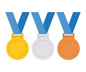 Gold, silver and bronze medal isolated on white background. Vector flat icon. Medals collection