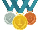 Prize medals with ribbons on white background. Vector banner with medals from gold, silver and bronze in flat style.