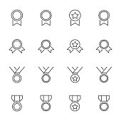 Medals outline icons set