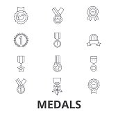 Medals, trophy, gold medal, award, medallion, . medal, winner, badge line icons. Editable strokes. Flat design vector illustration symbol concept. Linear signs isolated on white background