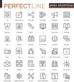 Media Advertising thin line web icons set. Outline stroke icon design