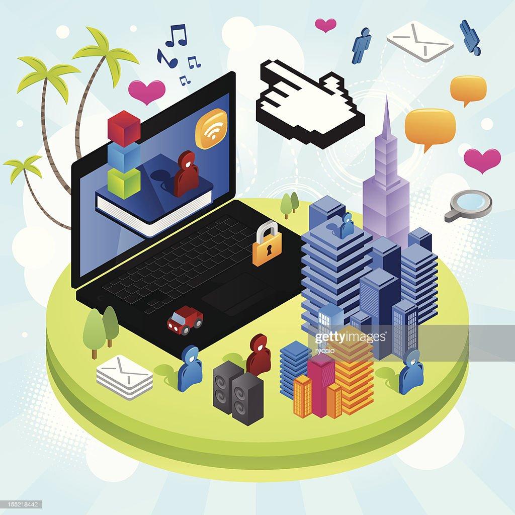 Media future city : Vector Art