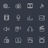 Set of 16 media icons. Thin lines