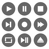 Media player control buttons set. Play, pause, stop, record, forward, rewind, previous, next, eject, repeat  icons in circle. Vector.