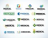 Medical pharmacy emblems set.