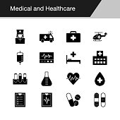 Medical and Healthcare icons. Design for presentation, graphic design, mobile application, web design, infographics. Vector illustration.