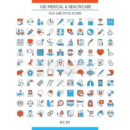 Ensemble d'icônes de Médecine et Santé : clipart vectoriel