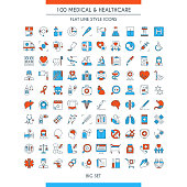 Medical and healthcare icons set. Modern icons on theme health insurance, medical service, healthcare, cardiology, pharmacy, medical equipment and first aid. Flat line design icons collection. Vector