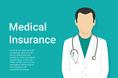 Medical insurance green background with faceless doctor wearing uniform and stethoscope and copy space for health care information. Flat vector illustration for healthcare and medical services