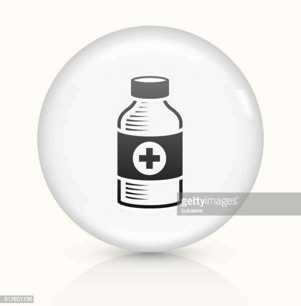Medical Bottle icon on white round vector button