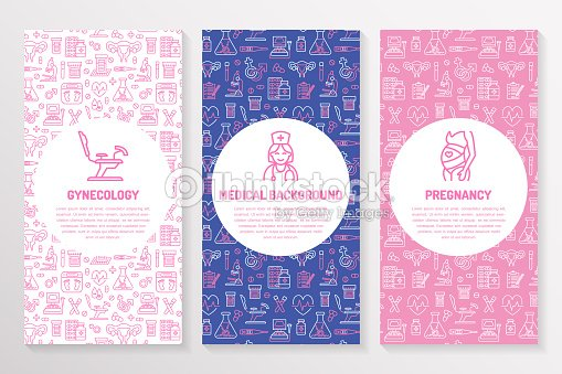 Medical Brochure Template Gynecology Flyer Vector Trifold Pink ...