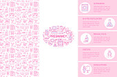 Medical brochure template, gynecology flyer. Vector trifold pink background. Obstetrics, pregnancy elements thin line icons - doctor, research, in vitro fertilization. Cute illustration for poster.