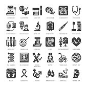 Medical check up, flat glyph icons. Health diagnostics equipment - mri, tomography, glucometer, stethoscope, blood pressure x-ray, blood test. Hospital signs. Solid silhouette pixel perfect 64x64.