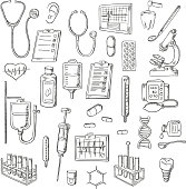Sketched stethoscopes, thermometers and syringes, medicines, test tubes and drip chambers, microscope, heart and ear, dentist tools, tooth implant, checkup form, ecg and blood pressure monitors, DNA h