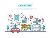 Medical clinic, hospital building, healthcare, medical facility, ambulance. City building. Clinic exterior, architecture hospital, landscape. Illustration thin line design of vector doodles