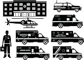 Silhouettes illustration of ambulance cars, hospital, medical people and helicopter isolated on white background.