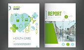 Medical cover template. Flyer with inline medicine icons, Modern Infographic Concept for annual report. Vector.