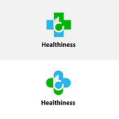Medical cross & hand icon.Medical center vector logo design template.Healthcare & Medical symbol.Vector illustration