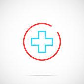 Medical cross icon. Medicine, healthcare concept. Thin line design. Vector icon