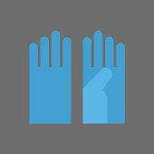 Medical Gloves Icon Surgeon Uniform Element Flat Vector Illustration