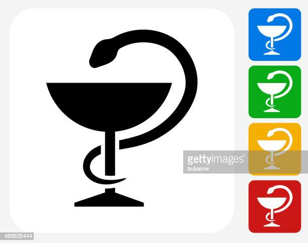 Medical Goblet and Snake Icon Flat Graphic Design