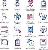This set contains medical and health care icons that can be used for designing and developing websites, as well as printed materials and presentations.