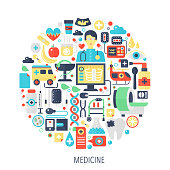 Medical healthcare flat infographics icons in circle - color concept illustration for medicine cover, emblem, template