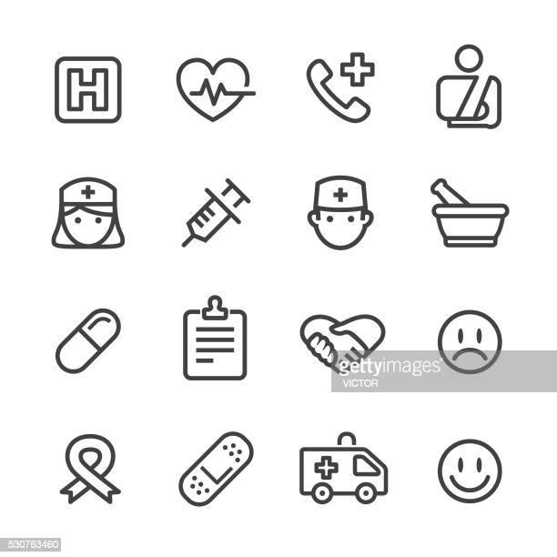 Iconos de medicina salud-serie de la línea