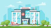 Vector cartoon style illustration of medical hospital building, medical stuff and ambulance car. Urban background.