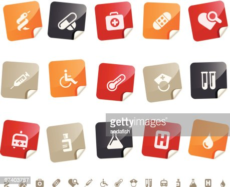 Medical & Hospital icons ? Sticky series : Vector Art