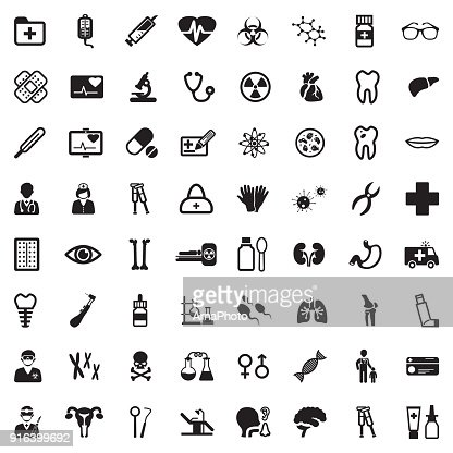 Medical Icons. Black Flat Design. Vector Illustration. : Vector Art