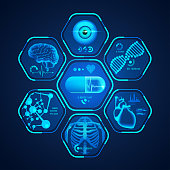 concept of medical technology, graphic of medical technological interface with pharmaceutical theme