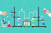 Medical Laboratory. Research, testing, studies in chemistry, physics, biology. laboratory equipment. Hands of doctor with pipette and test tube. Desktop research. Vector illustration flat design.