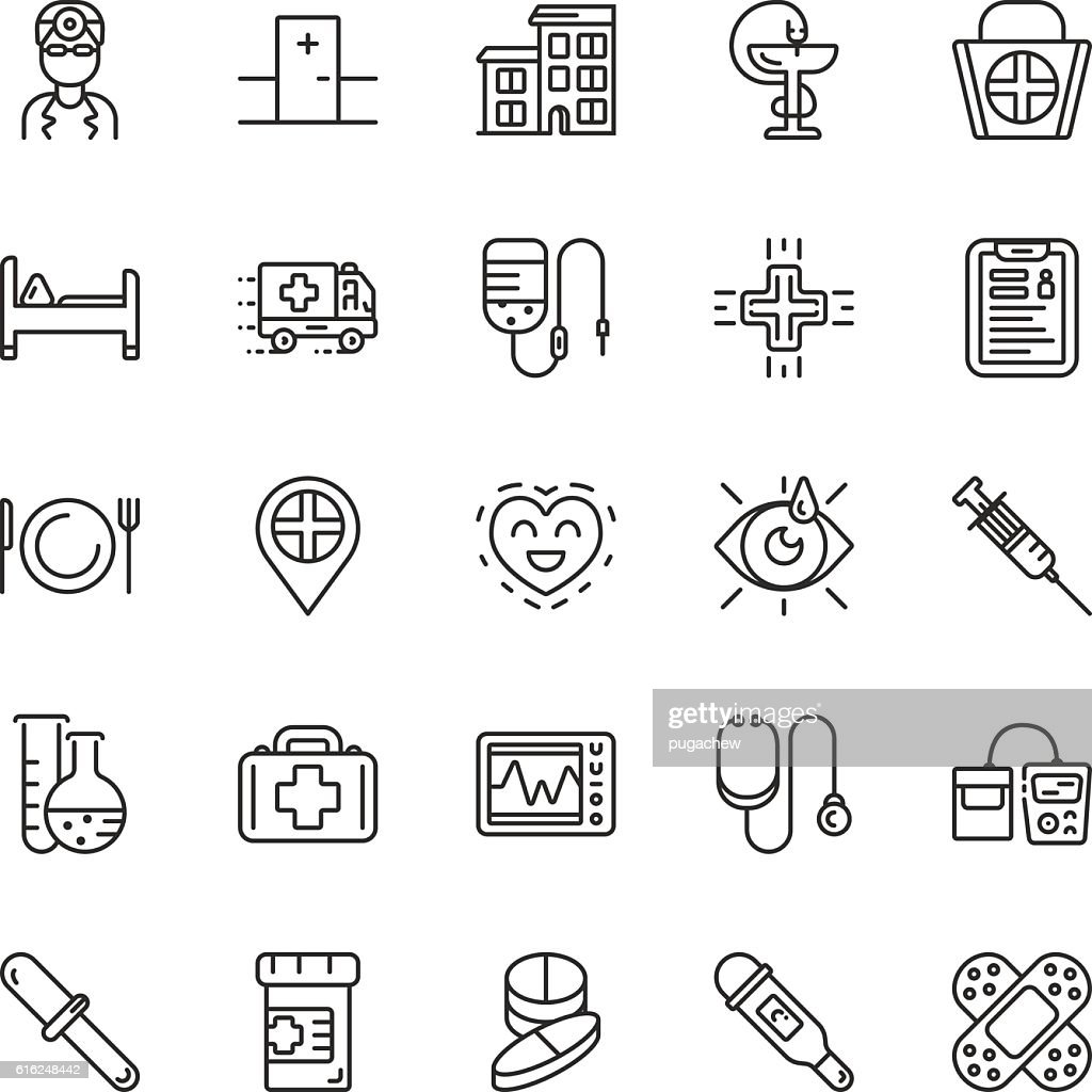 Medical line icons. Vector elements : Arte vectorial