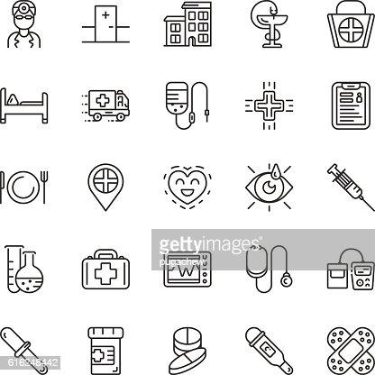 Medical line icons. Vector elements : Arte vetorial