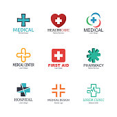 medical logo icons design, vector minimal elements for business identity, isolated on white background