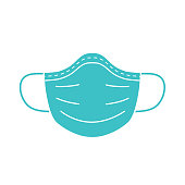 Medical mask vector icon on blue background.