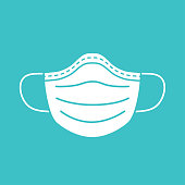 Medical mask vector icon isolated.