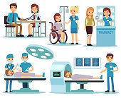 Medical patient and doctors in medical activity vector set. Patient in hospital, healthcare and treatment illustration