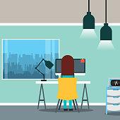 medical doctor sitting on back working in desk pc office window vector illustration