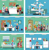 Medical personnel at work. Nurse doctor and patients in hospital interiors. Vector illustration. Interior of medical hospital, clinic room with patient and doctor