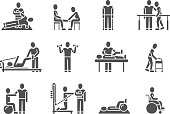 Medical physical therapy and people rehabilitation treatment black silhouette vector icons. Therapeutic and physiotherapy, recuperation and rehabilitation illustration