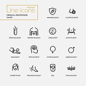Medical profession simple thin line design icons, pictograms set. Immunologist, dermatologist
