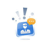 Doctor online chat, medical consulting speech bubble, personal professional support and guidance, healthcare service app concept, fast help, physician urgent call, general practitioner assistance icon